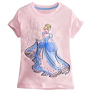 Embellished Storytelling Cinderella Tee for Girls -- Pink
