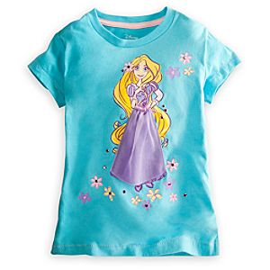 Deluxe Storytelling Rapunzel Tee for Girls -- Blue
