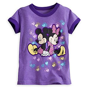 Mickey and Minnie Mouse Ringer Tee for Girls