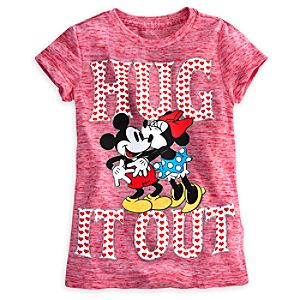 Mickey and Minnie Mouse Hug it Out Tee for Girls