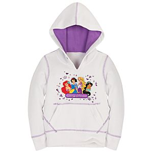 White Pullover Disney Princess Hoodie for Girls