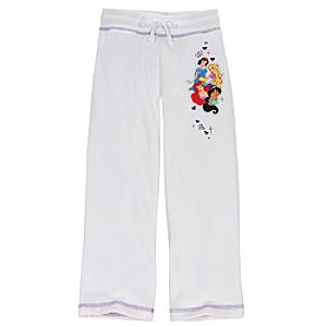 White Fleece Disney Princess Pants for Girls