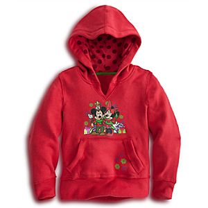 Holiday Pullover Fleece Minnie and Mickey Mouse Hoodie for Girls