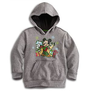 Holiday Pullover Fleece Pluto and Mickey Mouse Hoodie for Boys