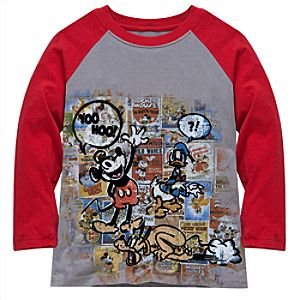 Raglan Sleeve Disney Nostalgia Yoo Hoo Mickey Mouse Tee for Kids