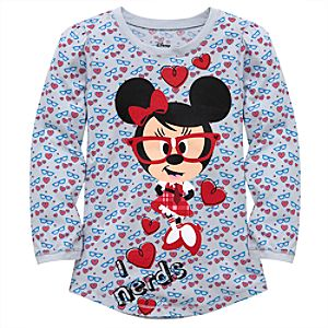 Long Sleeve Nerds Minnie Mouse Tee for Girls