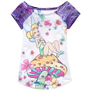 Burnout Raglan Tinker Bell Tee for Girls