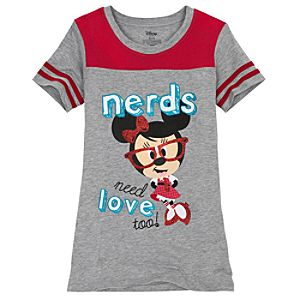 Nerds Jersey Minnie Mouse Tee for Girls