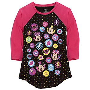 Raglan Sleeve Minnie and Mickey Mouse Tee for Girls