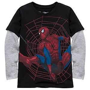 Double-Up Long Sleeve Spider-Man Tee by Mighty Fine for Boys