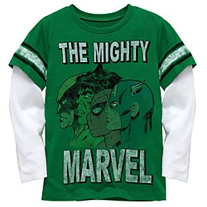 Double-Up Long Sleeve The Mighty Marvel Tee by Mighty Fine for Boys