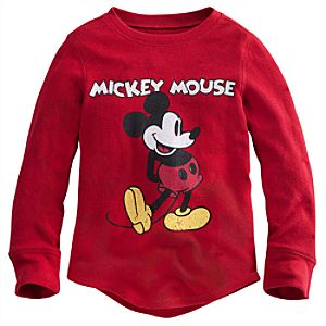 Long Sleeve Thermal Mickey Mouse Tee for Boys