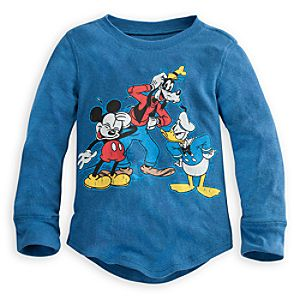 Long Sleeve Thermal Goofy, Donald Duck and Mickey Mouse Tee for Boys