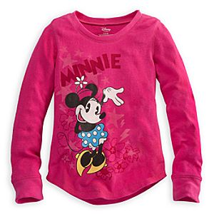 Long Sleeve Thermal Minnie Mouse Tee for Girls