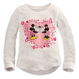 Long Sleeve Thermal Minnie and Mickey Mouse Tee for Girls