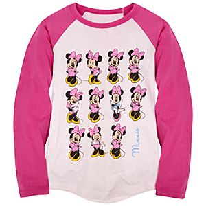 Raglan Long Sleeve Minnie Mouse Tee for Girls -- Made with Organic Cotton