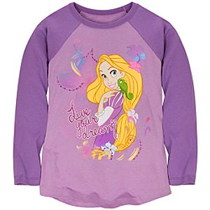 Raglan Long Sleeve Rapunzel Tee for Girls -- Made with Organic Cotton