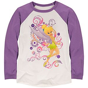 Raglan Long Sleeve Tinker Bell Tee for Girls -- Made with Organic Cotton