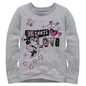 Long Sleeve Minnie Love Minnie Mouse Tee for Girls -- Made With Organic Cotton