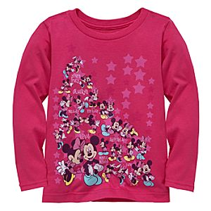 Long Sleeve Minnie and Mickey Mouse Tee for Girls -- Made With Organic Cotton