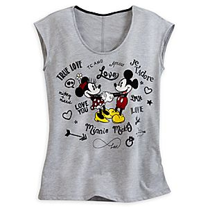 Mickey and Minnie Mouse Sleeveless Tee for Women - I Love Mickey Collection
