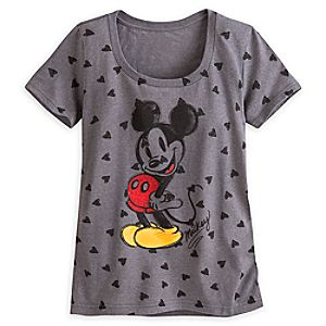 Mickey Mouse Heathered Tee for Women - Valentines Day