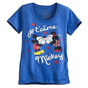 Mickey and Minnie Mouse Je Taime Mickey Tee for Women