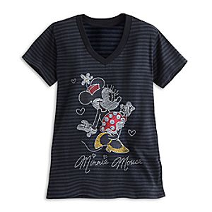 Minnie Mouse Glittering Striped Tee for Women