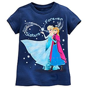 Anna and Elsa Tee for Girls - Dark Blue