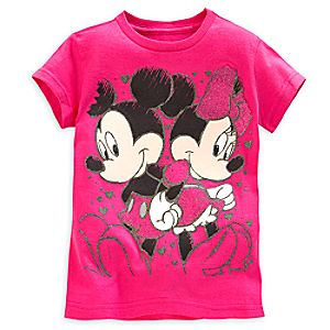 Mickey and Minnie Mouse Tee for Girls - Valentines Day