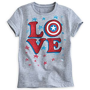 Captain America Shield Love Tee for Girls