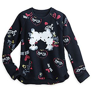 Mickey and Minnie Mouse Pullover Top for Women - I Love Mickey Collection