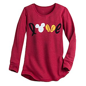 Mickey Mouse Icon Long Sleeve Thermal Tee for Women