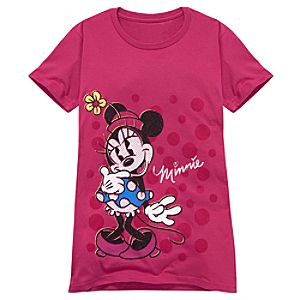 Pink Glitter Minnie Mouse Tee for Women -- Made With Organic Cotton