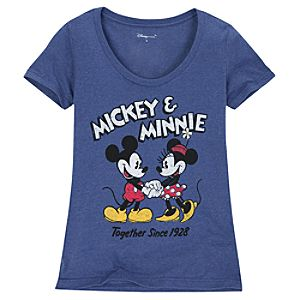 Scoop Neck Mickey and Minnie Mouse Tee for Women -- Made With Organic Cotton