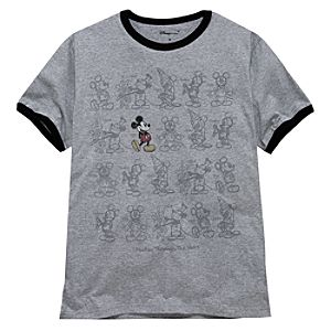 Ringer Mickey Through the Years Mickey Mouse Tee for Men -- Made With Organic Cotton