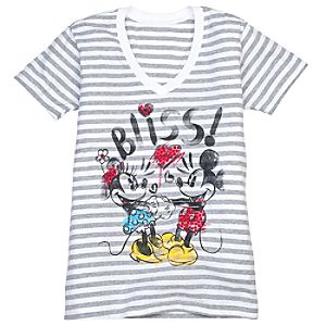 V-Neck Striped Minnie and Mickey Mouse Tee for Women