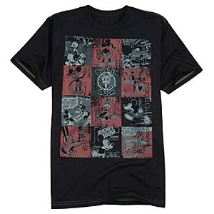 Comic Checkerboard Mickey Mouse and Friends Tee for Men