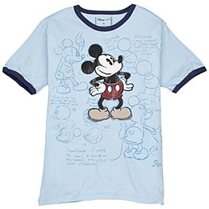 Ringer How to Draw Mickey Mouse Tee for Men -- Made With Organic Cotton