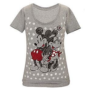 Polka Dots Minnie and Mickey Mouse Tee for Women
