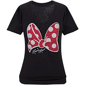 V-Neck Glitter Bow Minnie Mouse Tee for Women