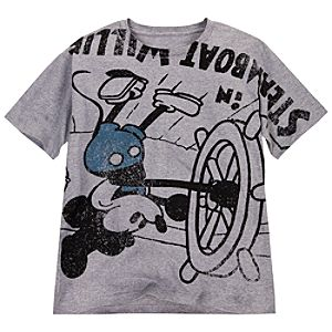 Upside-Down Steamboat Willie Mickey Mouse Tee for Men