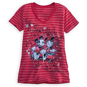 Striped Minnie and Mickey Mouse Tee for Women