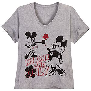 V-Neck Minnie and Mickey Mouse Tee for Women -- Plus Size
