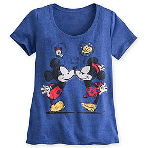 Mickey and Minnie Mouse Scoop Neck Tee for Women