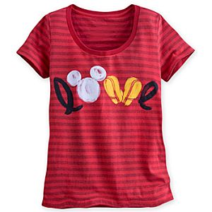 Mickey Mouse Icon Striped Tee for Women