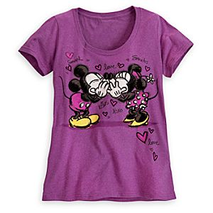Mickey and Minnie Mouse Kiss Tee for Women