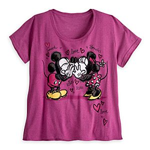Mickey and Minnie Mouse Kiss Tee for Women - Plus Size