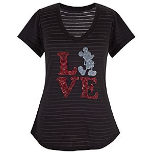 Rhinestud Burnout V-Neck Mickey Mouse Tee for Women