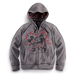 Zip Fleece Minnie and Mickey Mouse Hoodie for Women
